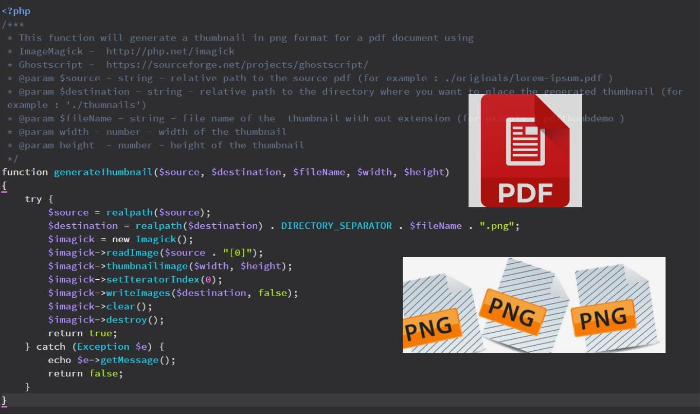 How to generate thumbnails for PDF documents with relative